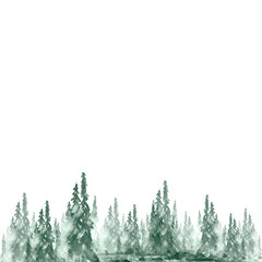 Watercolor background, postcard, invitation, border. Watercolor summer, autumn forest, green silhouette of trees, bushes, fur tree, pine tree. Field. Country view. banner, logo, card. Splash of paint.