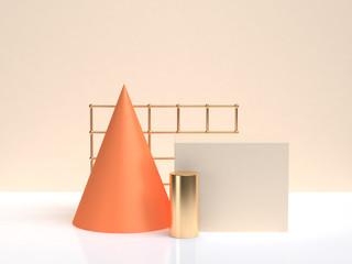 orang gold geometric shape form white cream scene 3d rendering