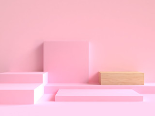 minimal abstract blank pink square wood scene 3d rendering Wall mural