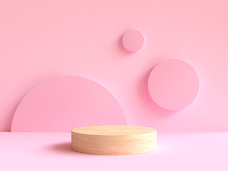 3d rendering wood podium minimal pink wall scene Fototapete