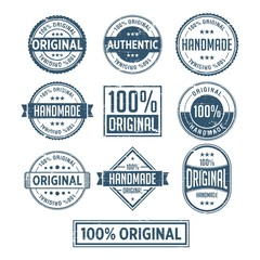 100% Original Handmade Authentic Label Badge vector