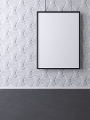 Abstract mockup poster on a pattern background wall. 3d rendering.