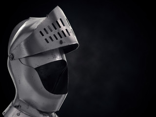 Background with Medieval Knight Armet Helmet with ipen visor. Front view with space for text. Used for tournaments or battlefields. 3D render Illustration.