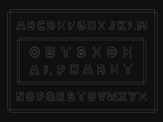 Outside bold font. Vector alphabet