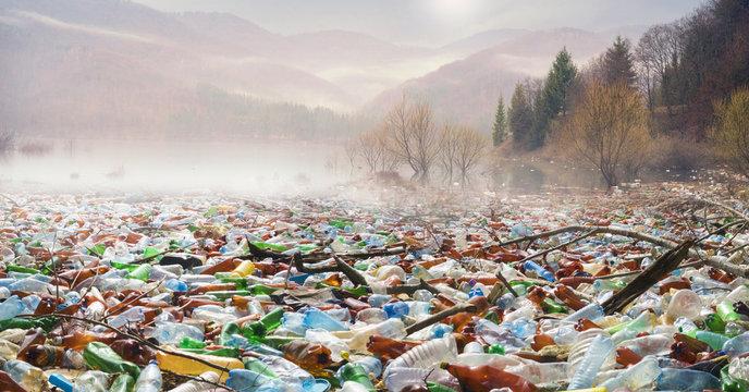Bottles in the reservoir mountain