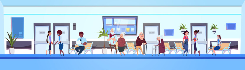 People In Hospital Hall Patients And Doctors Team IN Clinic Waiting Room Horizontal Banner Flat Vector Illustration