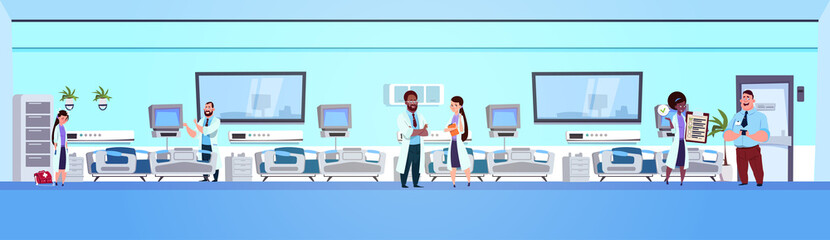 Team Of octors In Hospital Ward Background Clinic Room Interior With Beds Horizontal Banner Flat Vector Illustration