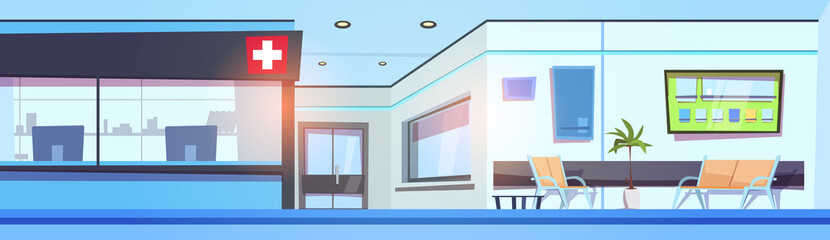 Empty Hospital Hall Interior Clinic Waiting Room Horizontal Banner Flat Vector Illustration