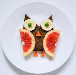 stock-photo-funny-bird-owl-from-healthy-food-art-creative-idea-for-breakfast-or-lunch-for-children-on-white-plate-top-view