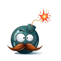 Cartoon bomb, fuse, wick, spark icon. Scared smiley Mustache whisker smiley. Vector eps 10