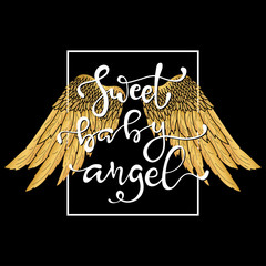 Hand drawn wings and lettering text