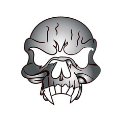 Skull metallic, caricature on white background,
