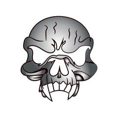 Skull metallic, caricature on white background,