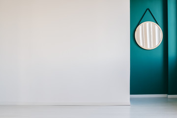 White and green empty interior