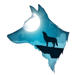 wolf, dog illustration. Cartoon night landscape Vector eps 10
