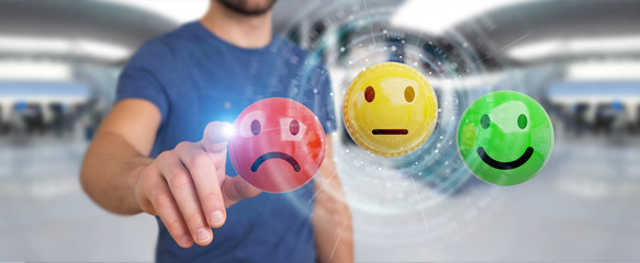 Businessman using customer satisfaction rating 3D rendering