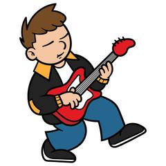 Cartoon Bass Guitar Player