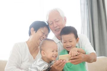 Grandparents and grandchildren taking selfie using smart phones