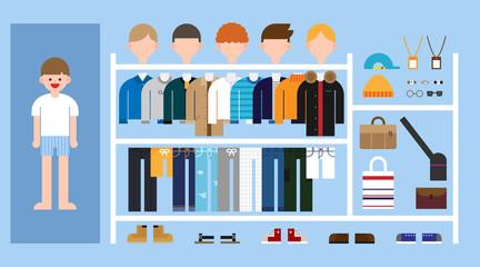 boy's dress room. vector flat design illustration set