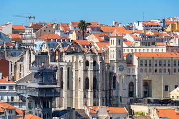 Santa Justa Lift and Carmo Convent ruin. Lisbon, Portugal