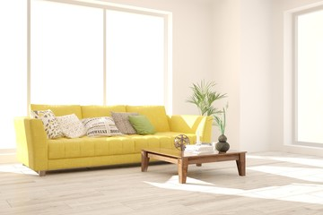 Idea of white minimalist room with yellow sofa. Scandinavian interior design. 3D illustration