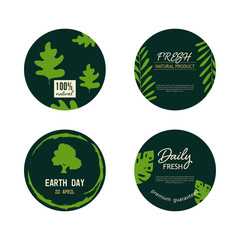 set of natural label and organic circle shape banner green color. earth day badge design.