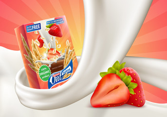 Oat flakes with strawberry flavor in milk swirl advertising poster with oatmeal box and big splash of pouring milk vector realistic illustration