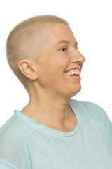 Beautiful bald woman laughing, close-up