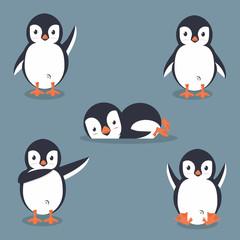 Collection of cartoon penguin vector