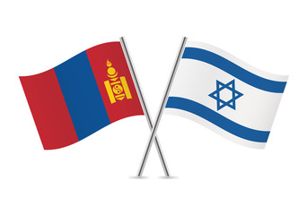 Mongolia and Israel flags. Vector illustration.