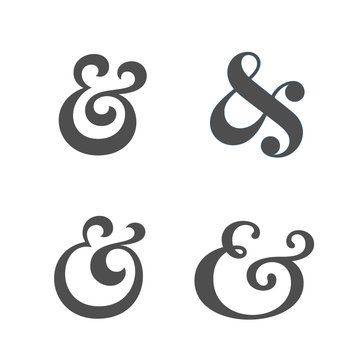 Collection of elegant and stylish custom ampersand. Decoration