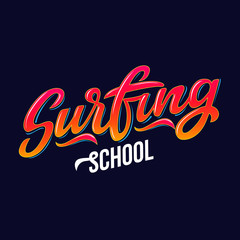 Surfing school text for logotype, wear, sports camp, trip, banner, surf station. Hand lettering in vintage graffitti style. Vector illustration.