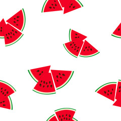 Seamless Pattern with Watermelon Slices, Juicy Fresh Slice of Watermelon with Seeds, Summer Time, Vector Illustration
