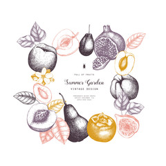 Vintage fruits and berries - apple, pear,  peach, apricot, quince, cherry card design. Vector summer or autumn template. Hand drawn harvest illustration. Wedding decoration.