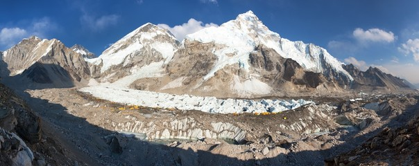 Mount Everest base camp evening panoramic view