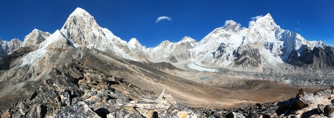 Panoramic view of Mount Everest, Lhotse, Nuptse