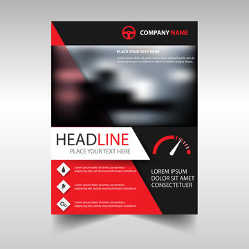 Brochure template of the mechanics shop. Vector cover of red color.