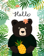 Cute baby bear character. Hand drawn vector illustration. Summer tropical jungle set.