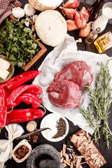 Frische Zutaten zum Kochen vom Markt