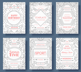 Abstract vector brochure cards set. Outline art template of flyear, magazines, posters, book cover, banners. Colorful thin line invitation concept background. Layout ornament illustrations modern page