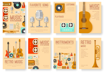 Retro equipment music set circle infographics template concept. Icons design for your product or design, web and infographics. Vector festival flat with long shadow illustration on background