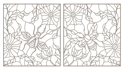 Set of outline illustrations with insects and flowers, Rhino beetle and bee, dark outlines on white background