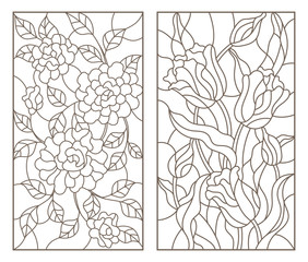 Set of contour stained glass illustrations with bouquets of flowers, roses and tulips, dark outlines on white background