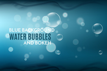 Blue background with deep water bubbles, waves and bokeh. underwater backdrop, vector illustration eps10