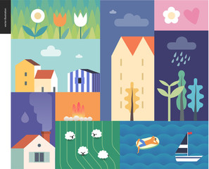 Idillic summer landscape - countryside, town, travel and vacation camp concept - collage of trees, flowers, field with sheep and lake or see waves with a sail boat and resting man on an inflatable