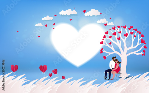Red Heart Flower On Pink Background With Couple Kissing Under Love Tree Vacation Summer Holidays