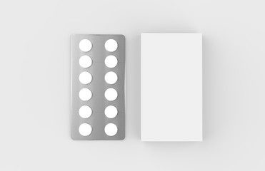 Pills Box Mock up On Isolated White Background, 3D Illustration