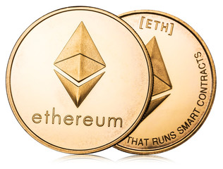 Physical ethereum coin on white background. Cryptocurrency. Clipping path.