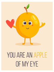 Bright poster with cute cartoon apple and saying