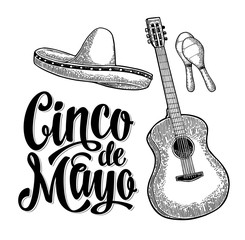 Cinco de Mayo lettering and guitar, maracas and sombrero.